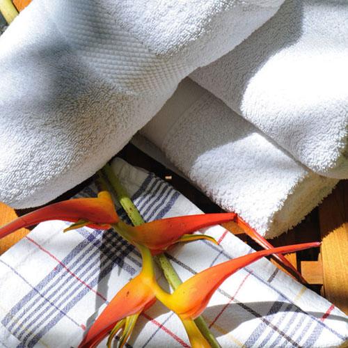 Mise à disposition de linge de maison : serviette, tapis de bain, draps.