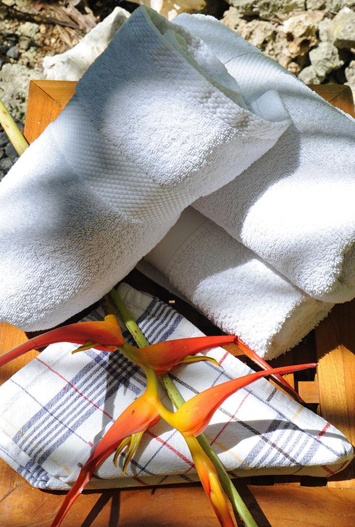Prêt de serviettes de bain au gîte des 3 épices.