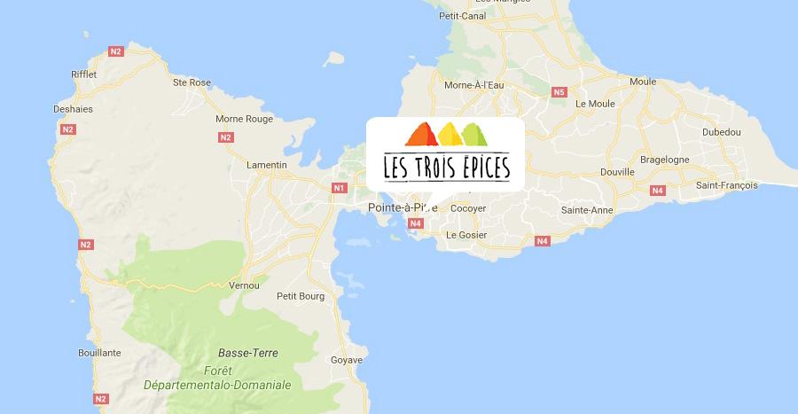 Carte de Guadeloupe avec localisation du gîte Les 3 épices