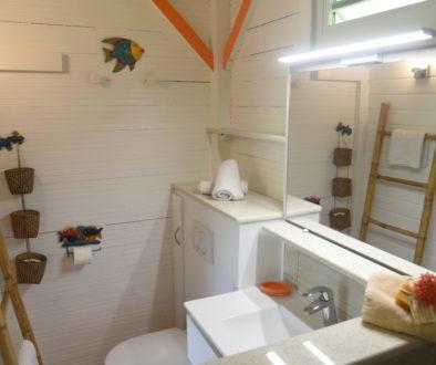 Salle de bain d'un bungalow du gîte les 3 épices.